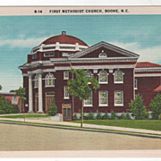 First Methodist Church Boone NC North Carolina Vintage Postcard