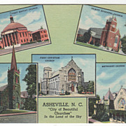 Asheville NC North Carolina City of Beautiful Churches in the Land of the Sky Vintage ...