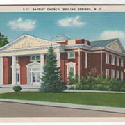 Baptist Church Boiling Springs NC North Carolina Vintage Postcard