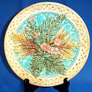 SOLD Basket-weave Majolica Plate with Fern Leaves and Flowers
