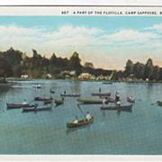 A Part of the Flotilla Camp Sapphire Brevard NC North Carolina Vintage Postcard