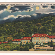 Grove Park Inn by Moonlight Asheville NC North Carolina in the Land of the Sky Vintage Postcar