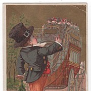 Victorian Card in French Language Boy and Touring Carriage