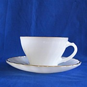 Anchor Hocking Golden Shell Cup and Saucer Set