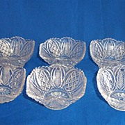 Set of Six EAPG Harvard or Harvard Yard Sauce Bowls