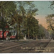 Front St and North St Binghamton NY New York Postcard