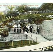Postcard Drinking Hot Water at Maurice Springs Hot Springs Arkansas AR