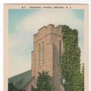 Episcopal Church Brevard NC North Carolina Vintage Postcard