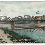 New Lake Street Bridge Elmira New York NY Postcard