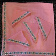 SOLD Five Piece Pink Luncheon Set - Tablecloth and Four Napkins