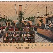 Commodore Restaurant Glen Falls New York NY Postcard
