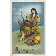 SOLD Indian Maiden with Turkey and Harvest Bounty Vintage Thanksgiving Postcard