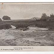 Real Photo Print Railroad Bridge Bellows Falls  Vermont Postcard