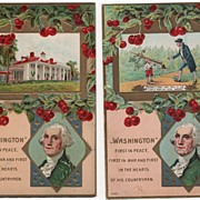 Two Postcards Washington's Birthday Mt Vernon Cherry Tree
