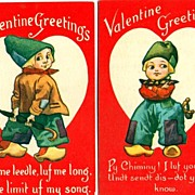Two Valentine Postcards with Dutch Boys