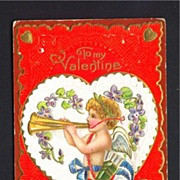 Valentine Postcard of Cupid with Trumpets and Violets
