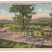 U S Highway No 74 Asheville Chimney Rock NC North Carolina Vintage Postcard