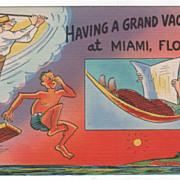 Comic Having a Grand Vacation at Miami FL Florida Vintage Postcard