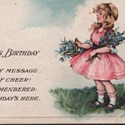 A Joyous Birthday Postcard Girl in Pink