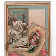 Die Cut Card of A Winter Scene and a Young Girl with a Muff