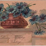 PFB Loving Birthday Greetings Postcard Blue Flowers