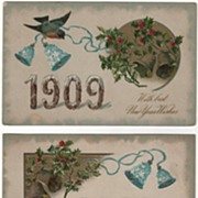 Set of Three New Year 1909  Postcard Birds and Forget-Me-Not Bells