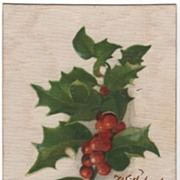 Silk Postcard With Best Christmas Wishes Holly