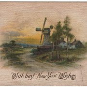 SOLD Silk Postcard With Best New Year Wishes Scene with Windmill