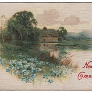 Silk Postcard New Year Greetings Country Scene