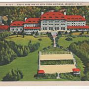 Grove Park Inn as Seen from Airplane Asheville NC North Carolina Vintage Postcard