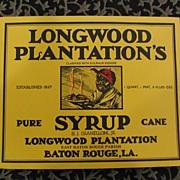 SALE PENDING Longwood Plantation's Pure Cane Syrup Label