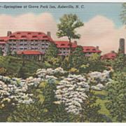 Springtime at Grove Park Inn Asheville NC North Carolina Vintage Postcard