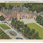 SOLD Airplane View of Biltmore House Asheville NC North Carolina Vintage Postcard - Red Tag Sa