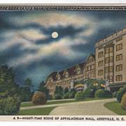 Night-Time Scene of Appalachian Hall Asheville NC North Carolina Vintage Postcard