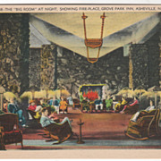The Big Room at Night Showing Fireplace Grove Park Inn Asheville NC North Carolina Vintage Pos