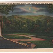 Moonlight O'er the Mountains as Seen from Robert E Lee Hall Blue Ridge NC North Carolina Vinta