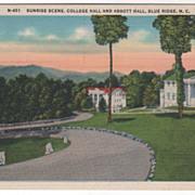 Sunrise Scene College Hall and Abbott Hall Blue Ridge NC North Carolina Vintage Postcard