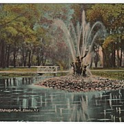 Fountain at Eldridge Park Elmira New York NY Postcard