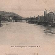 View of Chenango River Binghamton NY New York Postcard