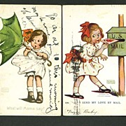 Two Katherine Gassaway Postcards Cute Girls