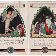 Two Whitney Postcards Christmas Greetings Shepherds Angel