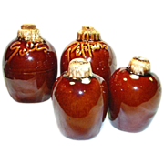 SOLD Two Sets of Hull Pottery Brown Drip Salt & Pepper Shakers