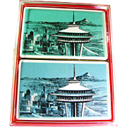 1962 Seattle Washington Space Needle Unopened Double Deck Playing Cards (Two Sets)