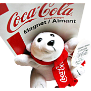 SALE Collectable Official Coca Cola(R) Polar Bear Plush Bean Bag Toy Magnet