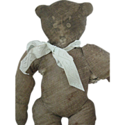 "Antique Litho Print Cloth RARE 13"" Stuffed Teddy Bear Doll"