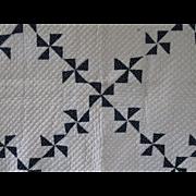 Mid-Late 19th C. Antique Indigo Pinwheels Quilt, PA