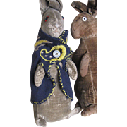 "REDUCED Rare, Antique Steiff 8"" Peter Rabbit in Homemade Jacket"