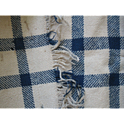 REDUCED Early Antique Wool Homespun Blanket, Blue/Tan with Fringe, PA