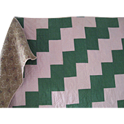 Early Pink & Green Calico/Chintz Quilt, c 1850-70, PA German, Over-sized