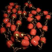 SALE Art Deco Coral Glass Gilt Bead Sautoir Necklace